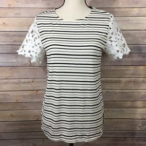 Anthro Sunday in Brooklyn Lace Sleeve Striped Top